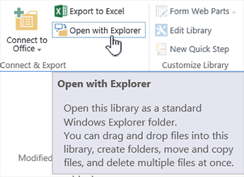 Open in Explorer or View with File Explorer in SharePoint
