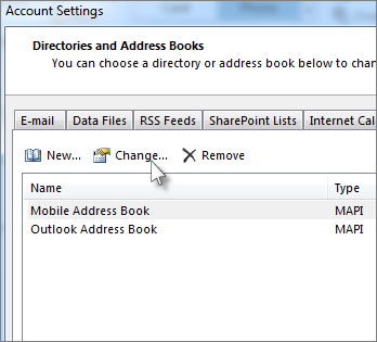 Click the address book you want, and then click Change.
