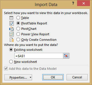 Import Data window