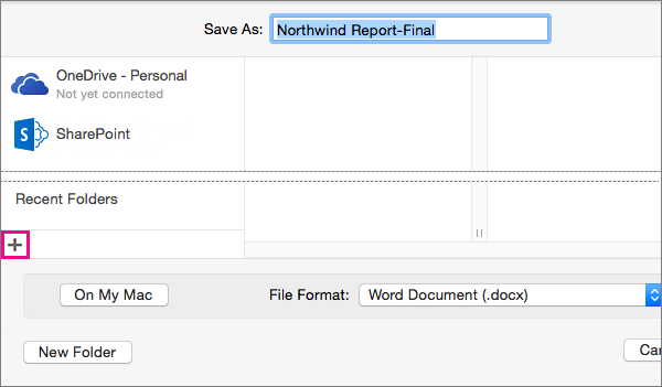 To add an online service, click the plus sign at the bottom of the left column in the Save As dialog box.