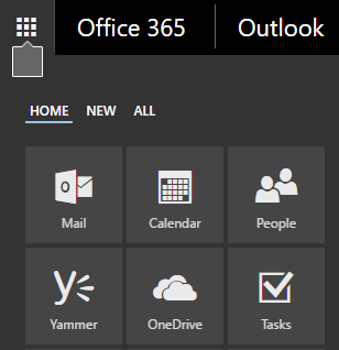 Office 365 app launcher showing the Mail, Calendar, People, Yammer, OneDrive, and Task tiles