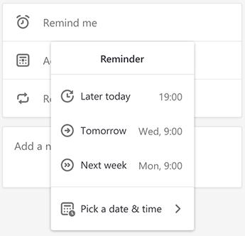 Screenshot showing the Reminder menu