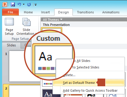 "Right-click the new theme shown under the ""Custom"" heading, and then choose ""Set as Default Theme."""