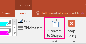 Shows the Convert to Shapes button in Ink Tools