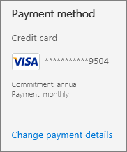 Payment section of a subscription that shows that the subscription is paid monthly.