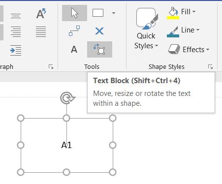 Text Block selected