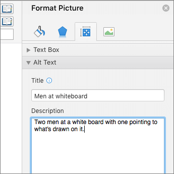 Screenshot of the Alt Text area of the Format Picture pane describing the selected image