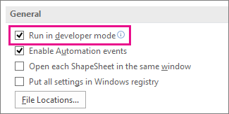 Run in developer mode check box