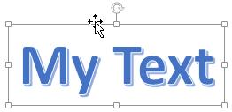 WordArt with a four headed arrow cursor