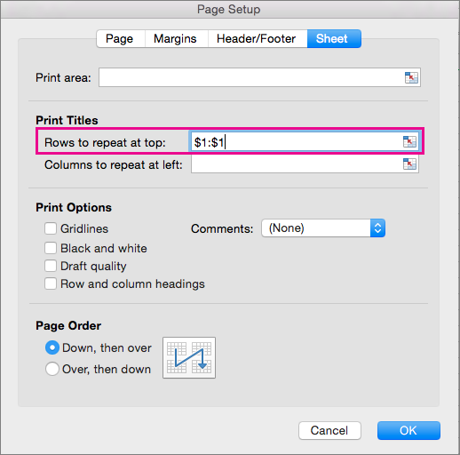 Page Setup dialog box with repeated rows specified
