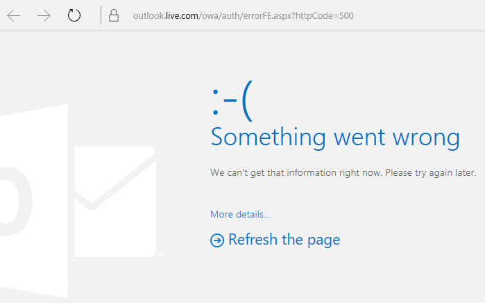 "Outlook.com ""Something went wrong"" error code 500"