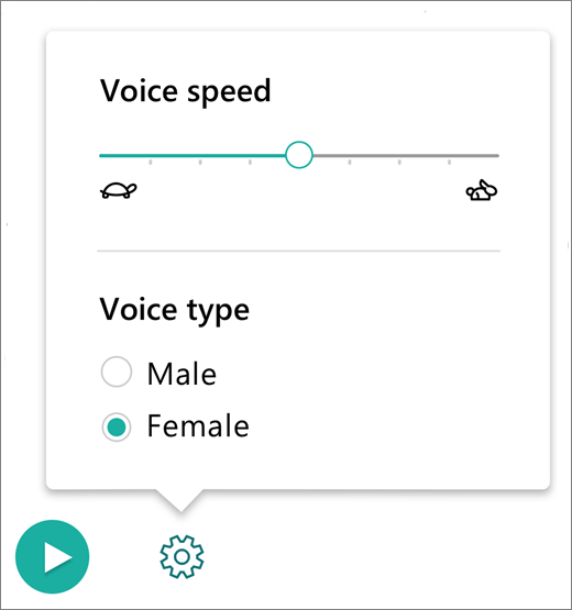 Voice Controls Menu in Immersive Reader