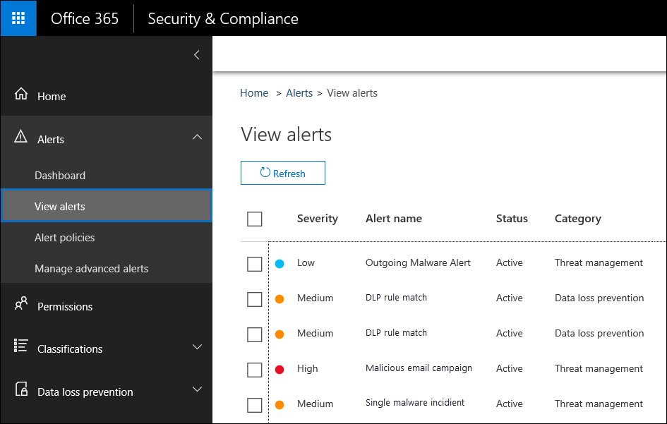In the Security & Complinace Center, click Alerts, then click View alerts to view alerts