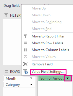 Value Fields Settings command accessed by clicling the arrow next to the field in Values