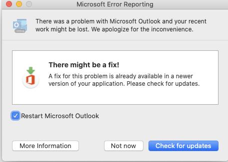 Microsoft error reporting window.