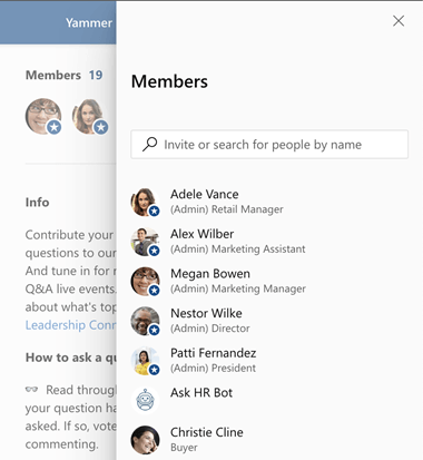 Yammer community members in a side panel
