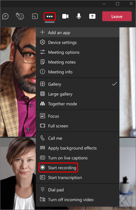 Image shows how to start a recording in a Teams meeting.