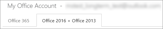 Office 2016 plus 2013 tab on the My Office Account page.