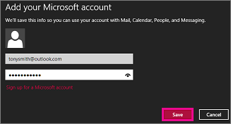 Windows 8 Mail Add your Microsoft account page