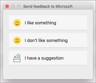 Feedback dialog for MacOS