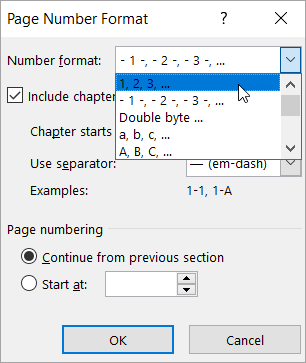 Choosing a number format