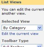 The Order List Web Part tool pane with the by categories as the selected view.