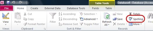 Access Ribbon Home Tab Spelling