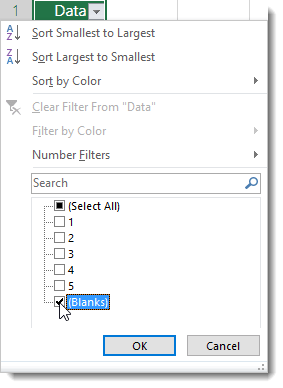 Use AutoFilter to display only cells with Blanks