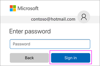 Enter password and sign in