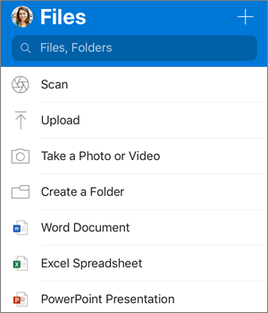 Screenshot of the Add menu in OneDrive app for iOS