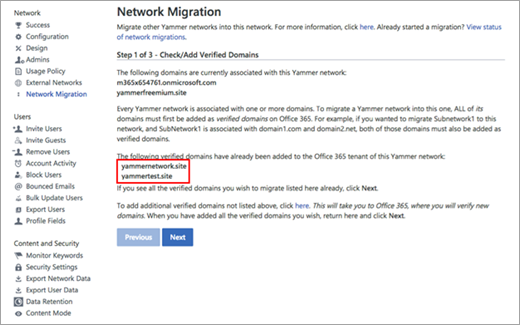 Network migration page showing multiple networks that need to be consolidated