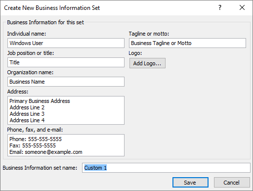 Create and print your own business cards in publisher publisher screenshot of the create new business information set dialog box flashek Images
