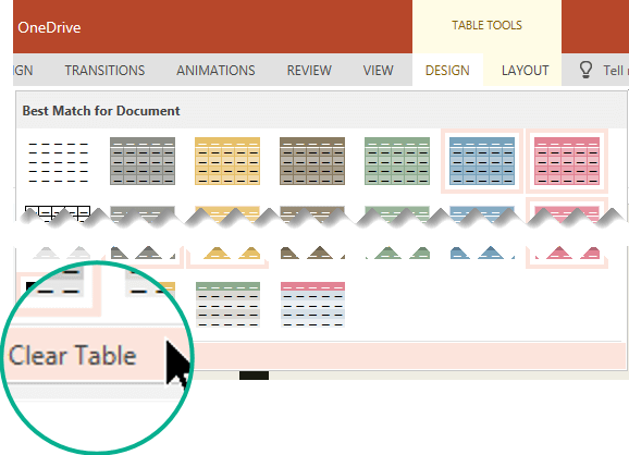 Remove a table style by using the Clear Table command.