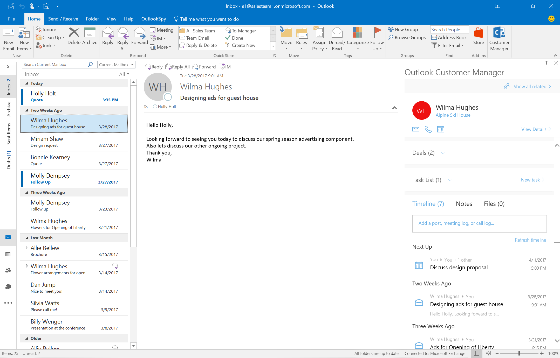 3788b0ca65e Start using Outlook Customer Manager in Outlook. You can ...