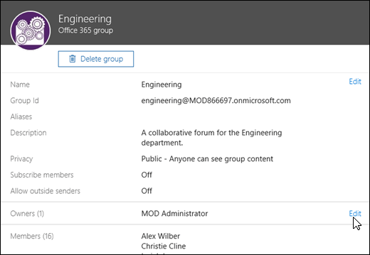 The groups panel is where you can administer the settings for your group