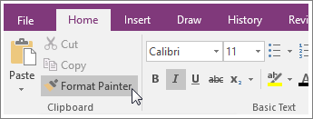 Screenshot of the Format Painter button in OneNote 2016.