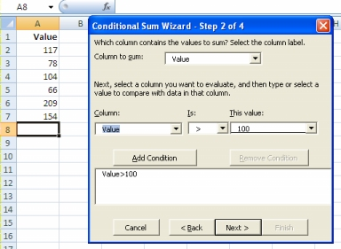 Conditional Sum Wizard: Step 2 of 4