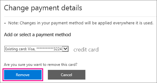 Remove credit card button in the Office 365 admin center.