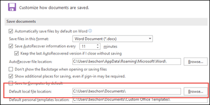 The Save options in Word, showing the default working folder setting