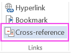 Word ribbon with Cross-reference highlighted