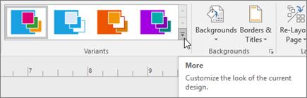 visio variants ribbon select a background