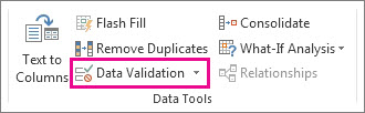 Data Validation on the Data tab