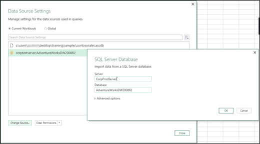 Excel Power BI Data Source Settings enhancements