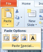 Under Paste, Paste Options with Paste Special