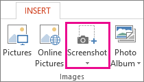 Screenshot option in the Images group in PowerPoint