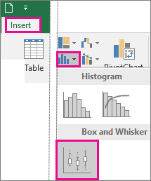 Box and Whisker Chart type on the Insert tab in Office 2016 for Windows