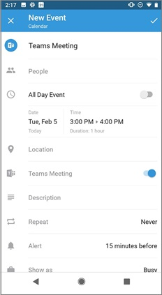New event page with Teams meeting toggle on