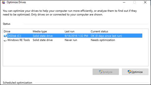 Defragment your Windows 10 PC