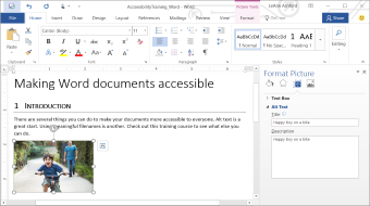 Take this training to learn how to create accessible documents using Word 2016
