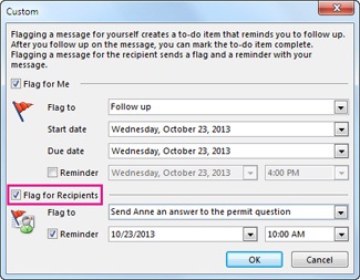 Flag for Recipients command in the Custom dialog box